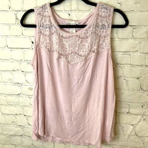 H&M pink sleeveless top with embroidered straps